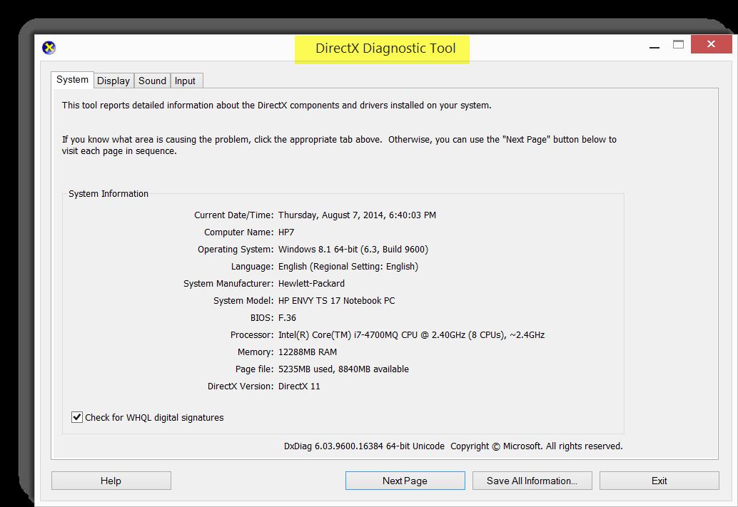 DirectX Kernel Diagnostic Tool - dxdiag (Windows 8 1, 8, 7